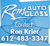 Ron's Auto Glass. Contact Ron Krier 612-483-3347.