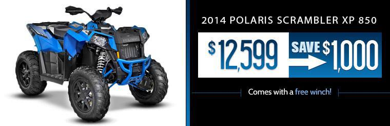 Get the 2014 Polaris Scrambler XP 850 for just $12,599, plus it comes with a free winch!