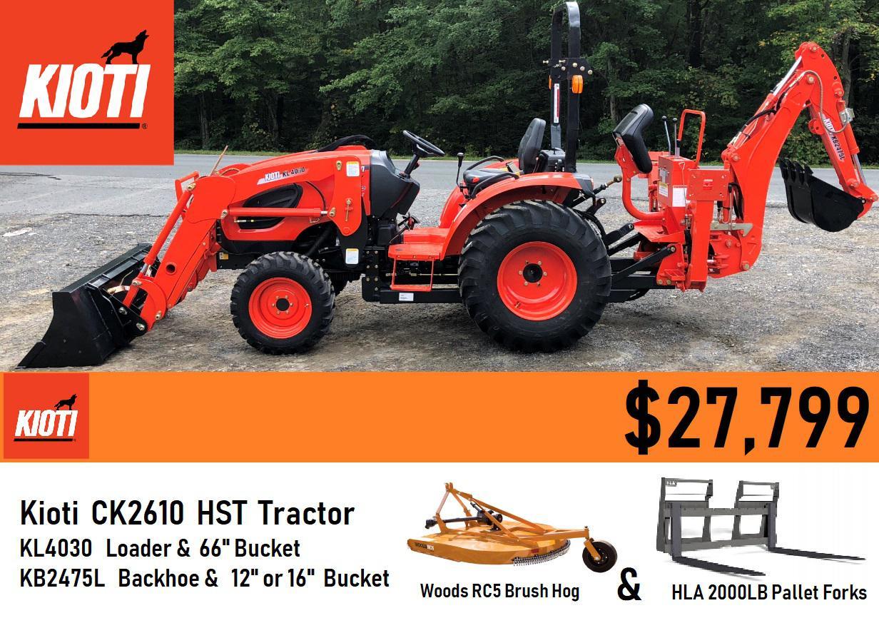 Kioti Package Deal #10 - Kioti CK2610 HST Tractor w/ Loader & Backhoe &  Forks & 5ft Brush Hog