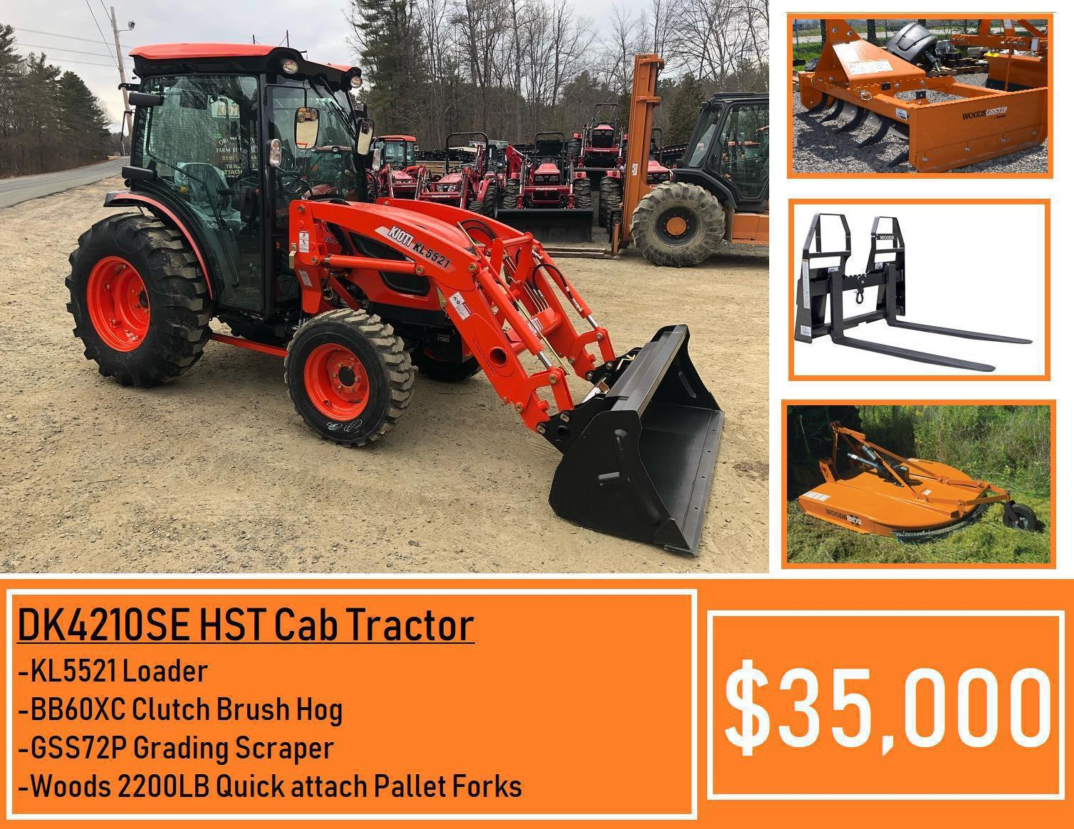 Kioti Package Deal #13 - Kioti DK4210SE HST CAB Tractor, Loader, 72