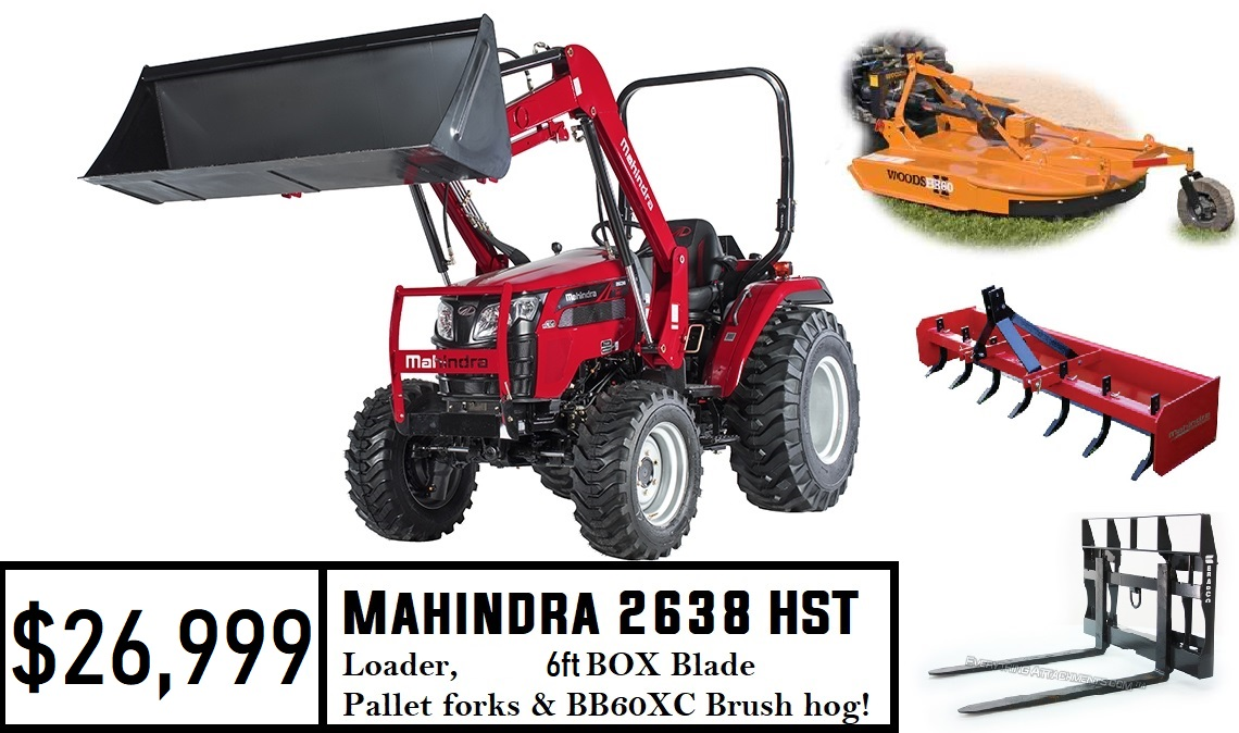 Mahindra Mahindra Package Deal #2 - 2638 HST Tractor w/ Loader & Pallet  Forks & 6FT Box Blade & BB60X Cutter