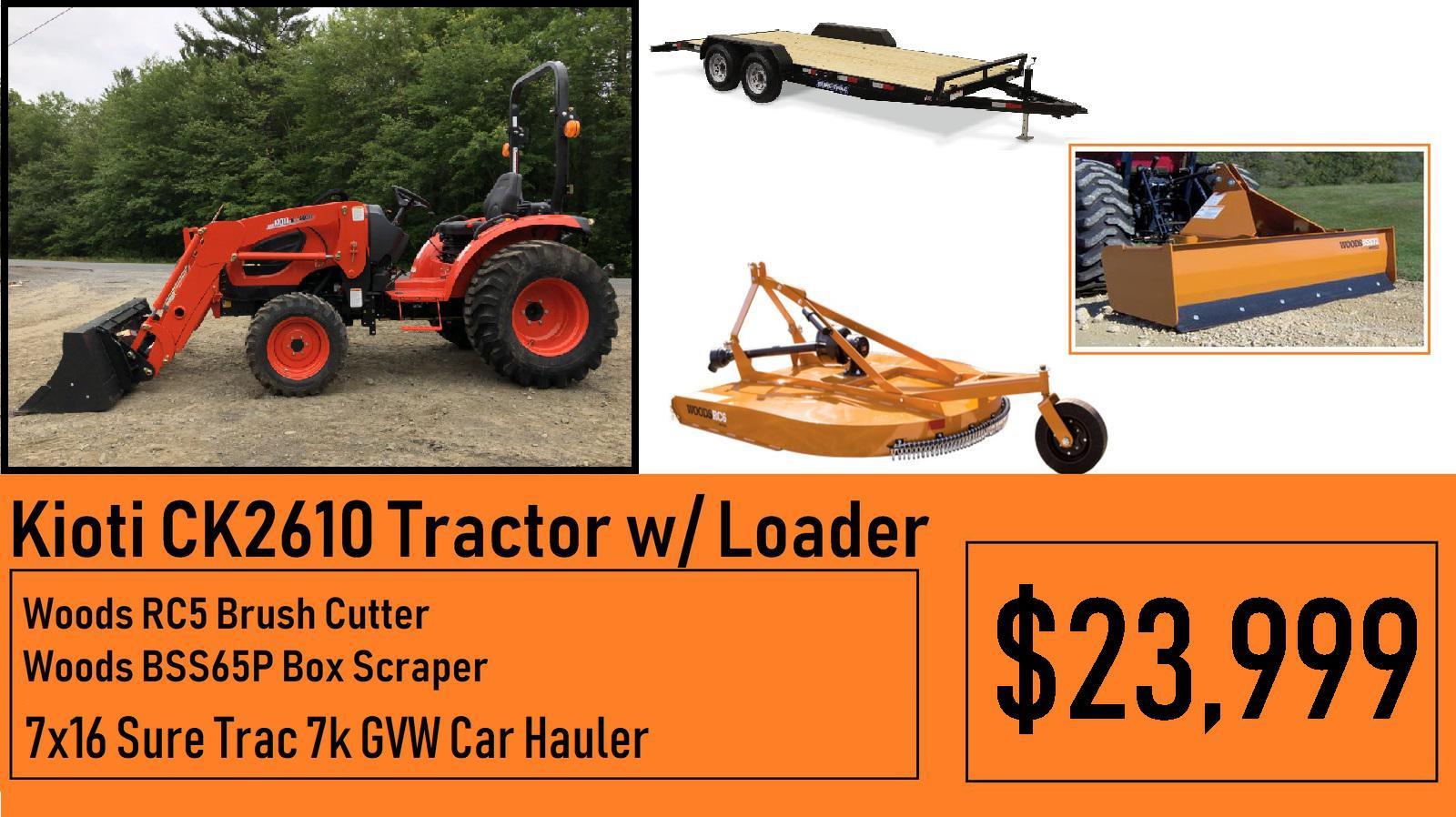 Kioti Kioti Package Deal #6 - Kioti CK2610 Tractor w/ Loader & 5ft Brush  hog, 65