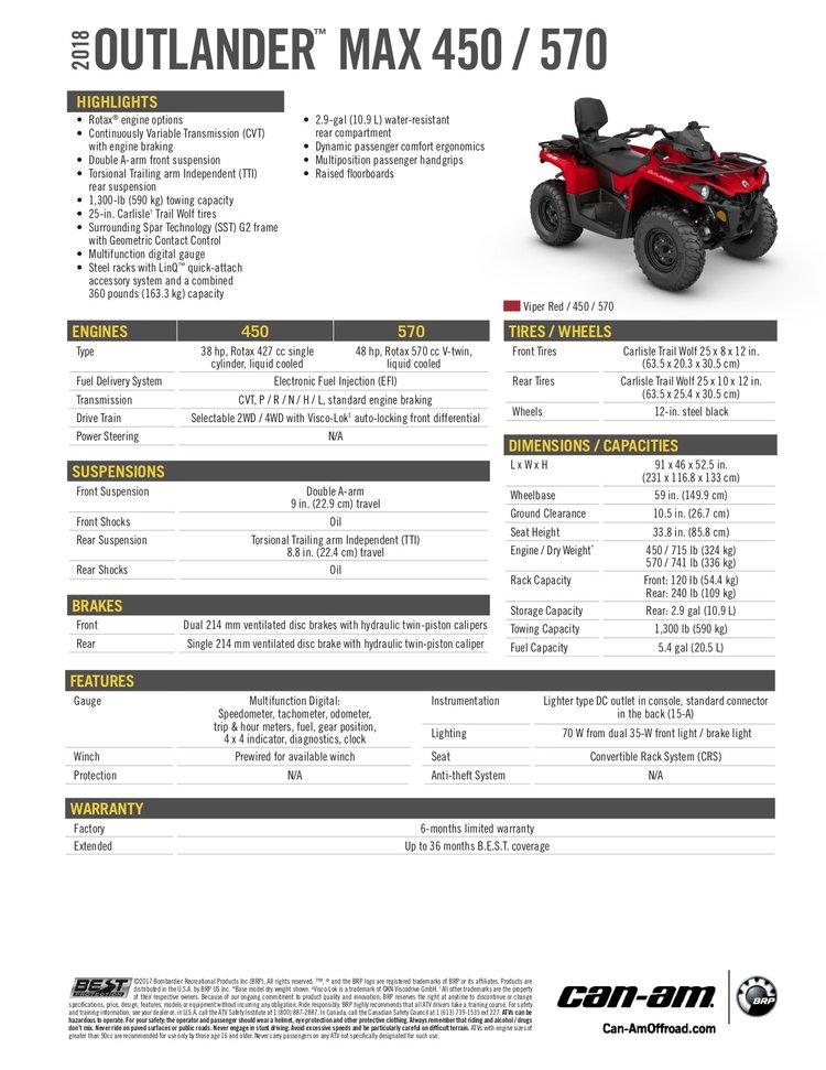 2018 Can-Am OUTLANDER 570 MAX