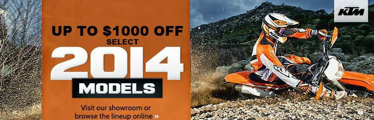 Up to $1,000 OFF Select 2014 KTM Offroad Bikes!