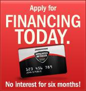 Apply for financing today.  No interest for six months!