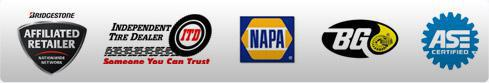 Bridgestone Affiliated Retailer, ITDG, Napa, and BG. We are ASE Certified.
