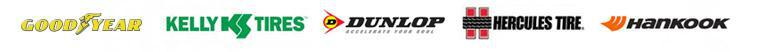 We carry products from Goodyear, Kelly, Dunlop, Hercules, and Hankook.