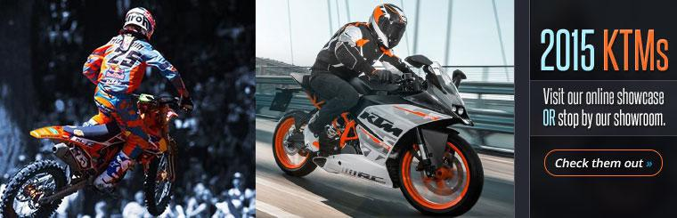 Visit our online showcase or stop by our showroom and check out the 2015 KTMs.