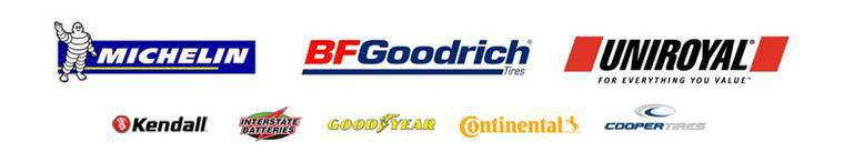 We carry products from Michelin®, BFGoodrich®, Uniroyal®, Kendall, Interstate Batteries, Goodyear, Continental, and Cooper.