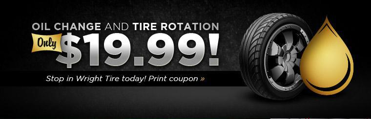 Wright Tire Service offers a oil change and tire Rotation for only $19.99! Next time you are in the Anoka, MN ares stop in and save.