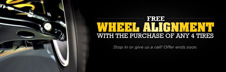 Get free wheel alignment with the purchase of any four tires! Click here for the coupon.