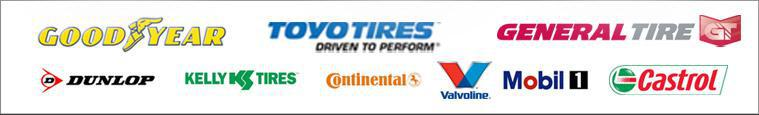 We carry products from Goodyear, Toyo, General, Dunlop, Kelly, Continental, Valvoline, Mobil 1, and Castrol.