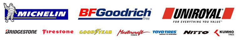 We carry products by Michelin®, BFGoodrich®, Uniroyal®, Bridgestone, Firestone, Goodyear, Mastercraft, Toyo, Nitto, and Kumho.