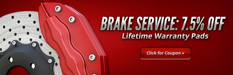 Get 7.5% off brake service and lifetime warranty pads! Click here for the coupon.