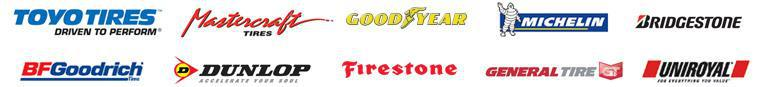 Our inventory includes Toyo Tires, Mastercraft, Goodyear, Dunlop, Michelin®, BFGoodrich®, Uniroyal®, Bridgestone, Firestone, and General.