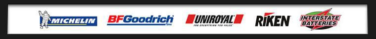 We proudly carry Interstate Batteries, Michelin®, BFGoodrich®, Uniroyal®, and Riken.