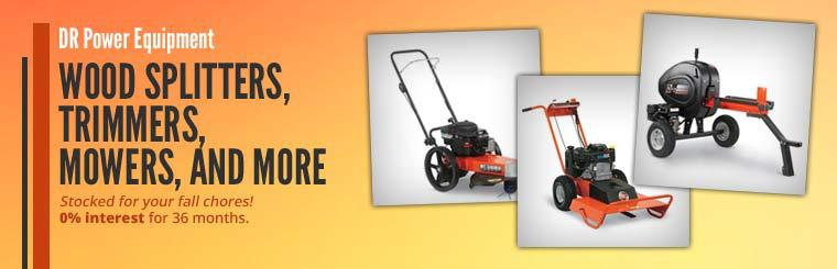 DR Power Equipment Wood Splitters, Trimmers, Mowers, and More: Click here to contact us for details.
