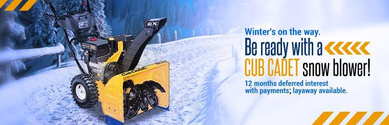 Cub Cadet Snow Blowers: Get 12 months deferred interest with payments, plus layaway is available.