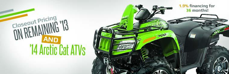 Closeout Pricing on Remaining 2013 and 2014 Arctic Cat ATVs: Get 1.9% financing for 36 months!