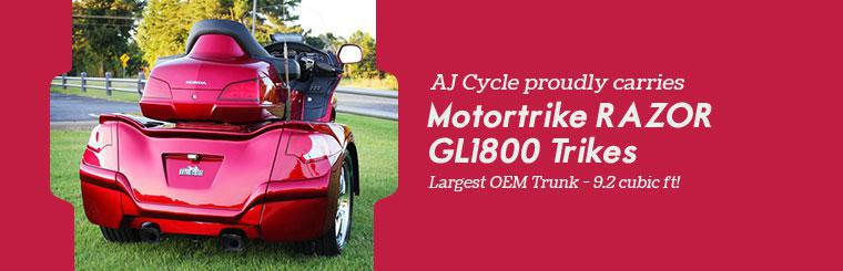 AJ Cycle proudly carries Motortrike RAZOR GL1800 Trikes. Largest OEM trunk - 9.2 cubic feet!