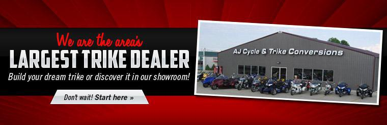 We are the area's largest trike dealer! Build your dream trike or discover it in our showroom! Click here to start.