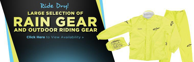 Click here to browse our large selection of rain gear and outdoor riding gear.