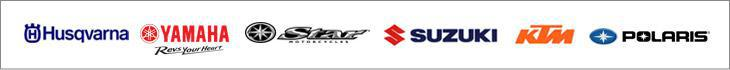 We carry products from Husqvarna, Yamaha, Star Motorcycles, Suzuki, KTM, and Polaris.
