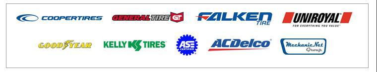 We proudly offer products from: Cooper, General, Falken, Uniroyal®, Goodyear, Kelly, ASE, ACDelco, and Mechanic Net.