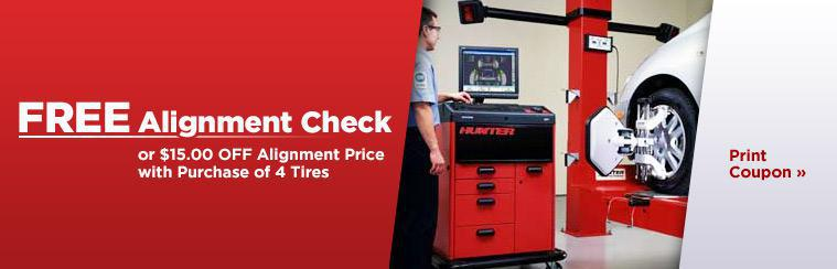 Get a free alignment check or $15.00 off the price of an alignment with the purchase of four tires. Click here to print the coupon.