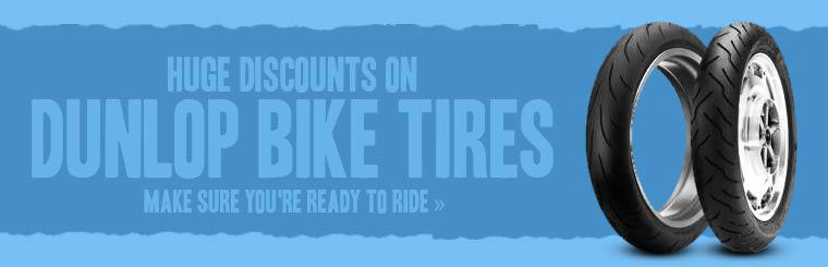 Take advantage of huge discounts on Dunlop bike tires!