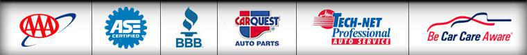 We are ASE certified. We are affiliated with AAA, BBB, TECH-NET, and Be Car Care Aware. We carry products from CARQUEST.