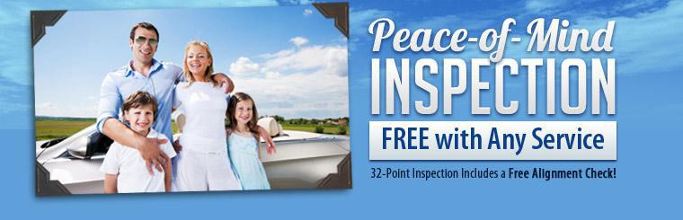 We offer free peace-of-mind inspections with any service! Our 32-point inspection includes a free alignment check. Click here for a coupon.