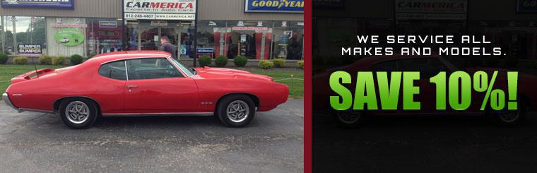 We service all makes and models. Save 10% on service!