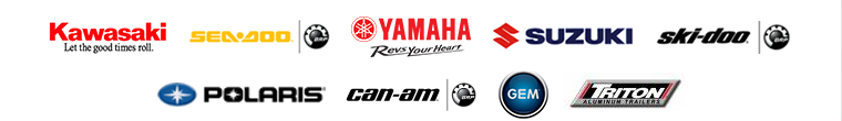 We carry products from Kawasaki, Sea-Doo, Yamaha, Suzuki, Ski-Doo, Polaris, Can-Am, GEM, and Triton Trailers.