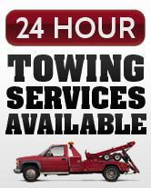 24 hour towing services available.