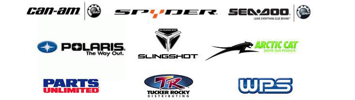 We are proud to feature products from Can-Am, Spyder, Polaris, Slingshot, Arctic Cat, Sea-Doo, Parts Unlimited, Tucker Rocky and Western Power Sports!