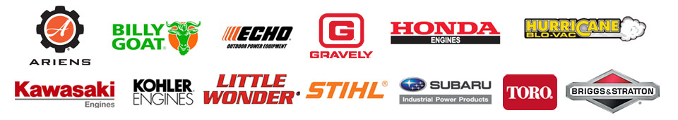 We carry products from Ariens, Billy Goat, ECHO, Gravely, Honda Engines, Hurricane, Kawasaki Engines, Kohler Engines, Little Wonder, STIHL, Subaru, Toro, and Briggs & Stratton.