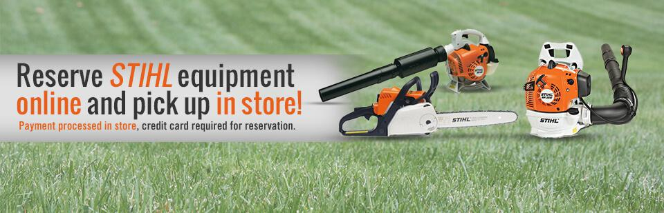 Reserve your STIHL equipment online and pick it up in store! A credit card is required for reservation only, and the payment will be processed in store. Click here to contact us.