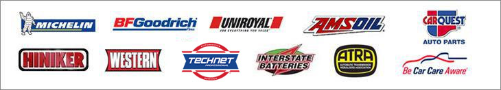We proudly carry products from Michelin®, BFGoodrich®, Uniroyal®, Amsoil, Carquest, Hiniker, Western, Tech-Net, Interstate Batteries, ATRA, and are affiliated with Be Car Care Aware.