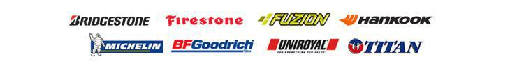 We proudly carry products from Bridgestone, Firestone, Fuzion, Hankook, Michelin®, BFGoodrich®, Uniroyal®, and Titan.
