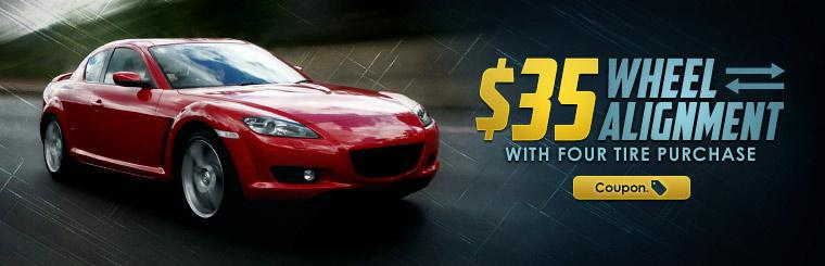 Get $35 wheel alignment service with the purchase of four tires.