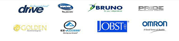 We carry products from Drive, Invacare, Bruno, Pride, Golden Technologies, EZ-ACCESS, Jobst, and Omron.