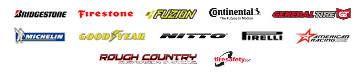 We carry products from Bridgestone, Firestone, Fuzion, Primewell, Michelin®, Goodyear, Continental, Pirelli, and American Racing. We are associated with Tiresafety.com.