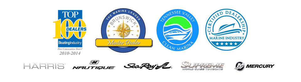 We are a Top 100 Dealer, Brunswick Master Dealer, and Marine Industry Certified Dealership. We are a Tennessee Valley Clean Marina. We carry products from Harris, Nautique, Sea Ray, Supreme, and Mercury.