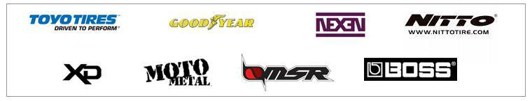We carry products from Toyo, Goodyear, Nexen, Nitto, XD, Moto Metal, MSR, and Boss.