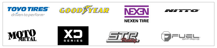 We carry products from Toyo, Goodyear, Nexen, Nitto, Moto Metal, XD, STR Racing, and Fuel Wheel.