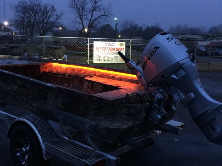 Boat Excel 1651 F4 Viper in Optifade Marsh Camo LED Lights Double Ought Orange LEDs on the interior gunnels & LED Light Packages and Wet Sounds Audio Upgrades Muddy Bay Marine ...