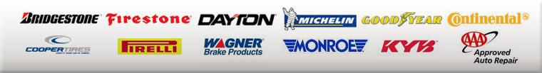 We carry products from Bridgestone, Firestone, Dayton, Michelin®, Goodyear, Continental, Cooper, Pirelli, Wagner Brake Products, Monroe, and KYB. We are an AAA Approved Auto Repair facility.