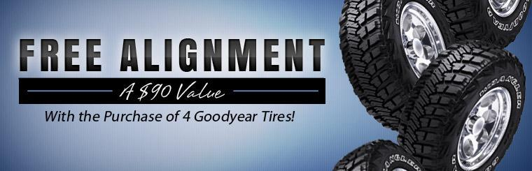 Get a free alignment with the purchase of 4 Goodyear tires! Click here to print the coupon.