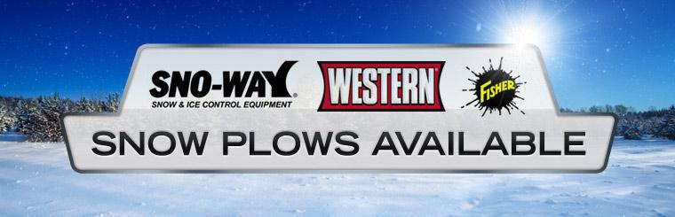 Snoway, Western, and Fisher snow plows are available! Click here to contact us.